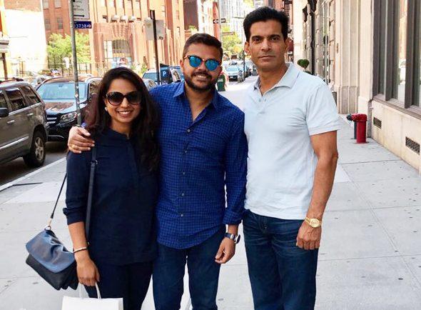 Rajender Singh with Entrepreneur Swapnil & Deepika Agarwal from Houston.