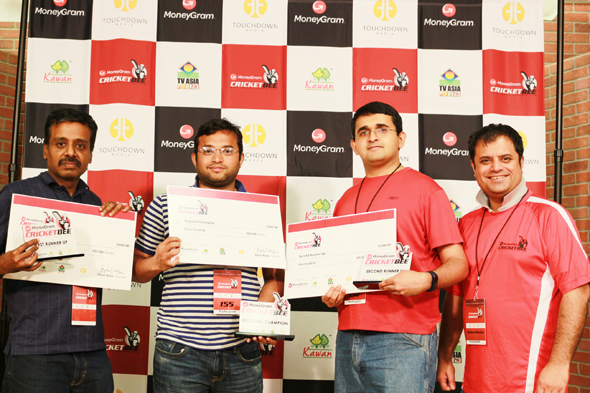 New Jersey: Senthilkumar Sethuraman (First Runner Up), Shyamsundar Soundararajan (Regional Champion), Ashwin Iyer (Second Runner Up), and Rahul Walia, Founder of MoneyGram Cricket Bee