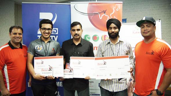 Toronto: Rahul Walia, Founder of MoneyGram Cricket Bee, Param Desai, 2nd Runner Up, Vidyasagar Sethu, Champion, Sandeep Singh, 1st Runner Up, and Kenji Remulla, Aaaza Inc.