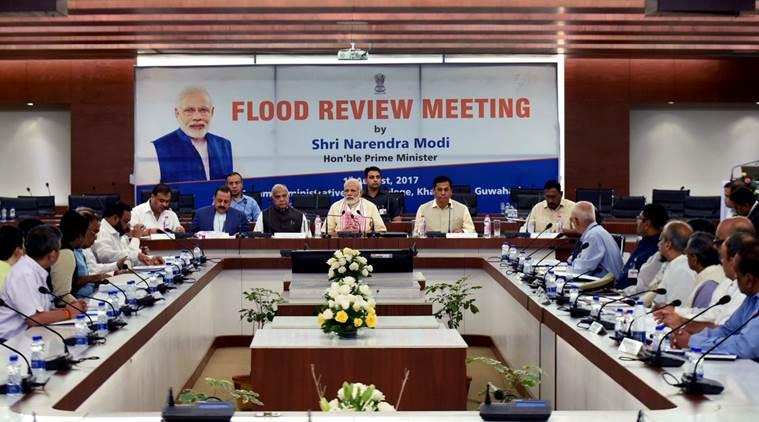 PM Modi during the high level meeting to assess the flood situation north eastern states. (Source: Twitter/PMOIndia)