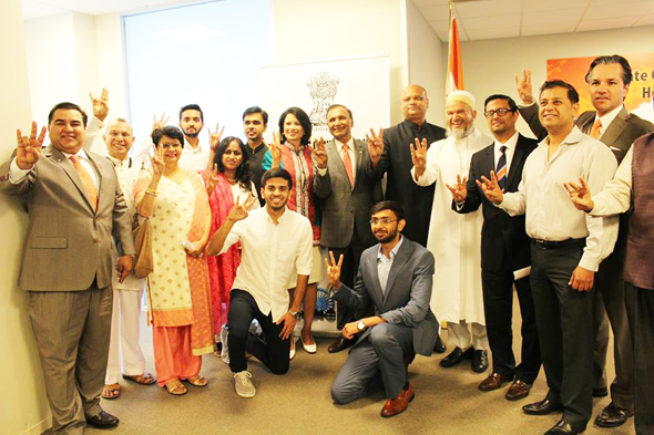 Cougars at Independence Day celebrations at the Indian Consulate.
