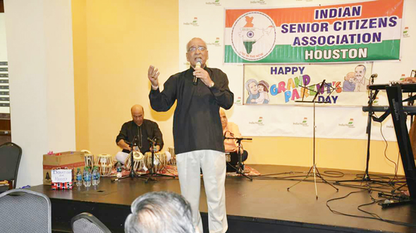 The mastermind behind the Grandparents Day show for seniors, Surender Talwar, croons a number