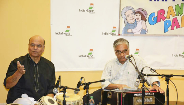Govind Shetty on tabla, Jamal Rashmi on harmonium and Tej Ganju (not pictured) on electronic keyboard provided backup music