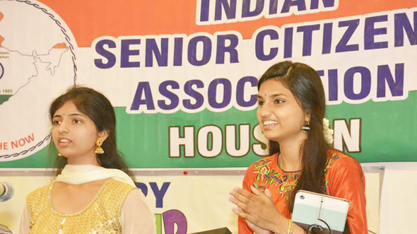 Winners of local talent events, singers Sri Sanvitha (left) and Akhila Mamandur rounded out the musical team