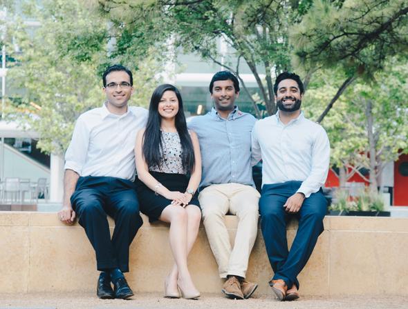 The One Jump Founders, from left: Neeraj Salhotra, Juanita Parra, Karthik Soora, and Shiroy Aspandiar