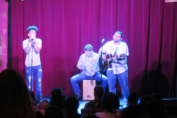 A local band from Spring, the duo Aaron (left) and Ashe (on guitar) was the opening act