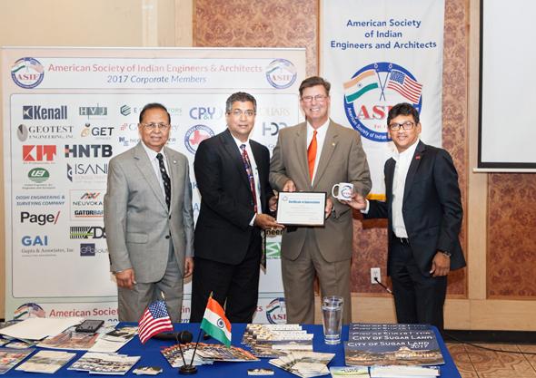 From left: ASIE President Dinesh D. Shah, Madhu Kilambi of ARKK Engineers, Guest Speaker and Sugar Land Mayor Joe Zimmerman, Sudhakar Kalaga of KIT Professionals.