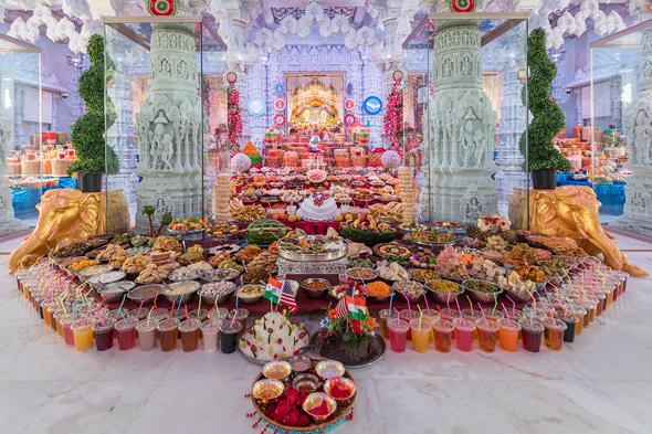 Grand Annakut on New Years at the BAPS Shri Swaminarayan Mandir.