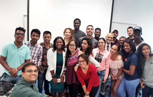 Ravi Brahmbhatt (front) takes a selfie with Adrienne Cain (center), Krishna Vavilala (right) and HCC oral history trainees.