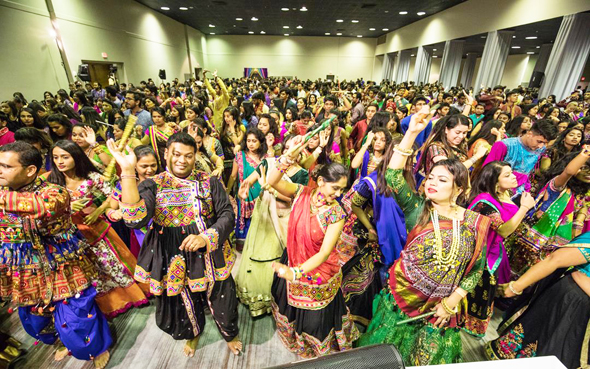 Enthusiastic crowds danced throughout the night at the garba.