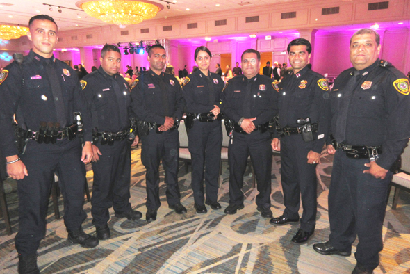 A cadre of South Asian police officers attended the AAPI fundraiser event on Saturday, October 14. From left are officers H. Amri (who is from Morocco), M. Mathews, Y.R. Haq, V. Patel, M. Qazi, Capt. Y. Bashir and M.A. Haider.