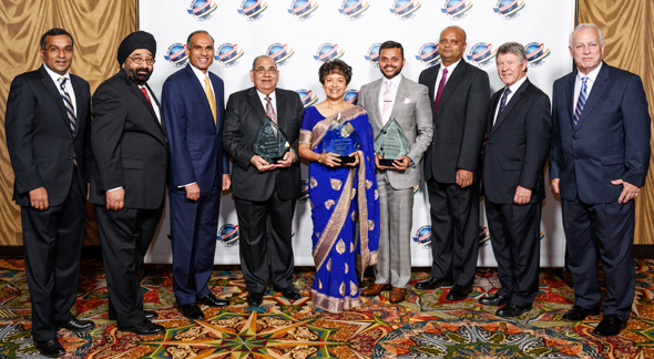 Indo American Chamber of Commerce of Greater Houston held its 18th Annual Gala on Saturday, September 30, at Hilton Americas Downtown. From left: Sanjay Ramabhadran Jagdip Ahluwalia, Bob Patel, Bal Sareen, Dr. Marie Goradia, Swapnil Agarwal, India's Consul General Dr. Anupam Ray, Harris County Judge Ed Emmett, and Allen Richards.