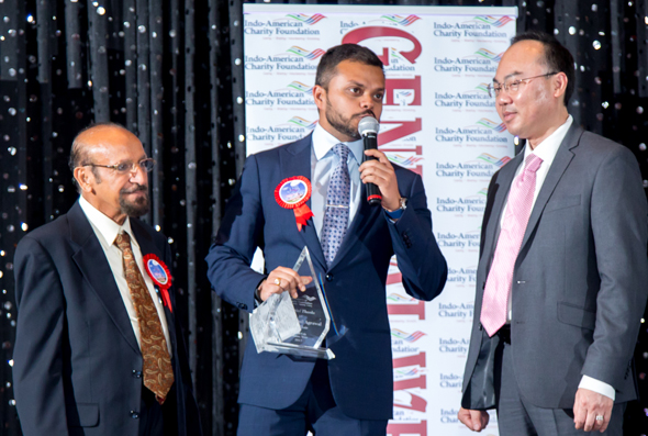 IACF President-Elect Mahesh Wadhwa (left) and Houston City Councilman Steve Le (District F) present Gala Chair Swapnil Aggarwal with an award.