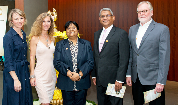 From left: Stephanie Todd Wong, Director of Performing Arts and Culture, Asia Society, Leda Burkle, IFFH Board Member, Sutapa Ghosh, Founder and Festival Director, Amey Prakash, IFFH Board President and Rick Ferguson, Executive Director of Houston Film Commission.