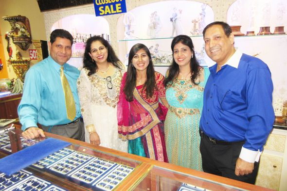 The Kamnani family at their store's signature Diwali party, from left, Gobind, Chandini, Divya, Sneha and Narain
