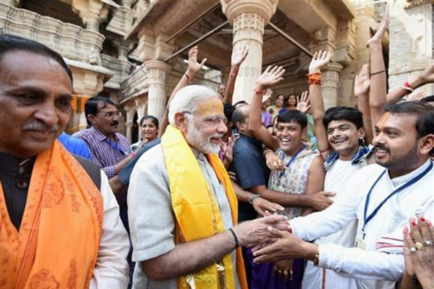 Earlier in the day, PM Narendra Modi took a jibe at rival Congress at a function in the temple town of Dwarka where he said that the definition of development amounted to making cheap publicity stunts to win elections. Photo: PTI