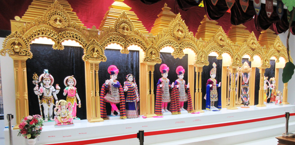 The deities are located in the main hall which was still being finished off even as Diwali preparations were going on.