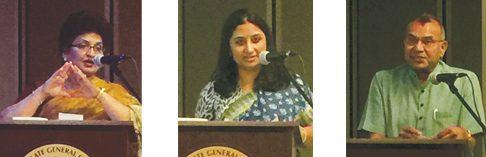 Speakers at the Rashtriya Ekta Divas included Acharya Dr. Kavita Vachaknavee of the DAV Sansrkiti School, Susanda Vashisht, historian and social media participant, and Ramesh Shah with Ekal Vidyalaya.