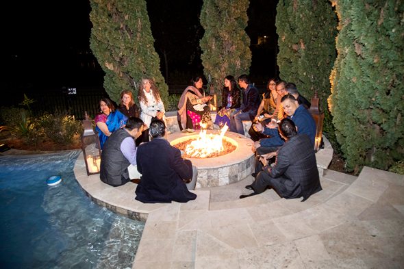 The cool evening was an ideal setting for informal chats around the poolside fire pit.