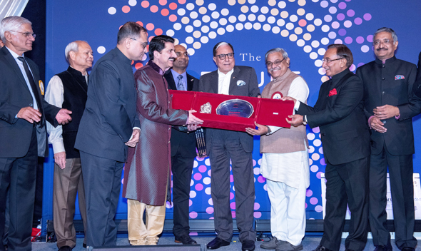 Ashok Danda, Chair of US Board of Directors (left); Subhash Gupta, Chair, Board of Advisors; Chirag Patel, Co-CEO & Chairman of Amneal Pharmaceuticals; Mohan Wanchoo, Chairman of Gala and Founder of EC Infosystems; Rajesh Gooty, Founder, Pres.-CEO of M Corp; Subhash Chandra, Chair Zee TV; Bajrang Bagra, Ekal India CEO; Laxmi Goyal, Chairman, BLSP; and Naresh Kumar, BLSP at the fundraising gala on Saturday, Nov. 4 at the Cipriani Banquet Hall in New York.