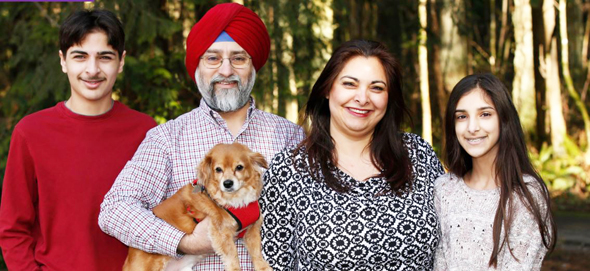 Manka Dhingra, State Senator-Elect in Washington State, with her husband Harjit Singh and two kids