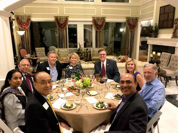 Key supporters of the Lt. Governor attended the private fundraiser and dinner. Dr. Renu Khator, the President and Chancellor of the University of Houston and her husband Dr. Suresh Khator (on extreme right) came to attend the dinner.