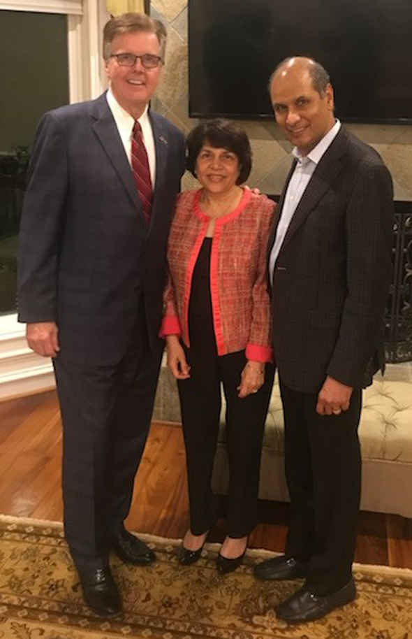 Mike and Rajni Jain with Lt. Governor Dan Patrick at the private fundraiser at their Sugar Land home last Thursday, November 16.