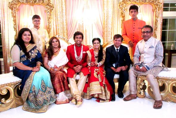 The newlyweds with their parents and siblings. From left, Pratima Buntval, Arya Kataria, Sangeeta Dua, the newlyweds, Karan Buntval, Amit Kataria and Narsim Buntval. Photo: Jawahar Malhotra
