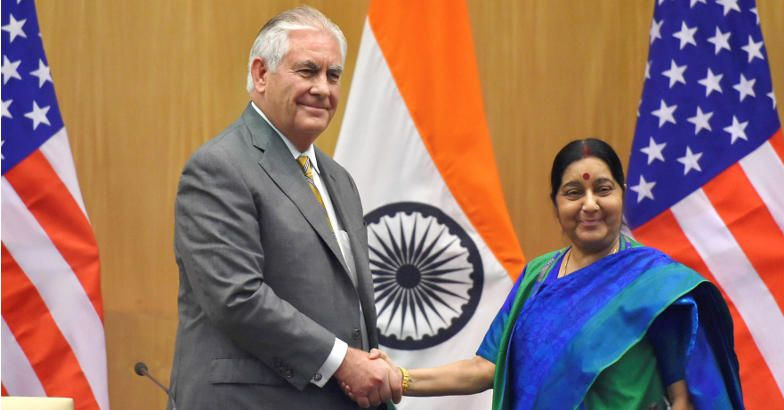 Minister for external affairs Sushma Swaraj and US secretary of state Rex Tillerson during a joint press conference in New Delhi on Wednesday. PTI.