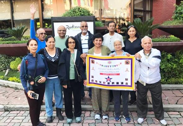 The Daring andDauntlessat the start of their journey at the Radisson, Kathmandu on September 6. From left, rear Arun Tewari, R. K. Iyer, Narayana Ponnada, Showri Nandagiri and Asha Jain. Front from left, Usha Tewari, Nutan Iyer, Lakshmi Narayana, Raju Nandagiri, Kumari Susarla, Mallik Putcha