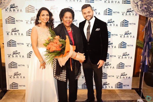 Swapnil & Deepika Agarwal with Congresswoman Sheila Jackson Lee at the inauguration event on October 26.