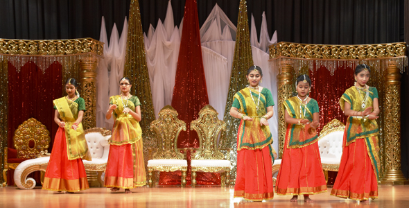 Young dancers performed after Ganesh is presented on stage