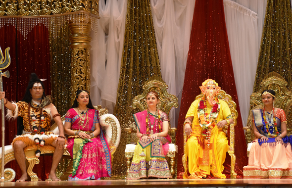 The Divine family at the marriage of Ganesh to Riddhi (prosperity) and Siddhi (spiritual power) during the play, Ganesh Leela at the Old Stafford Civic Center, on Friday, December 8.