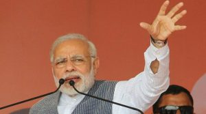 PM Modi urged the people to vote for 'vikas' and not 'vinaash' that thrived during the Congress regime in the state in the early 1990s. (Express photo)