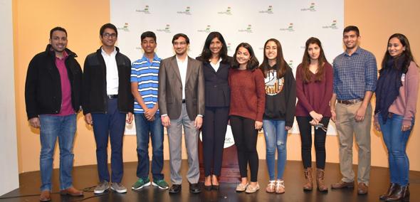 From left: Ankit Lohiya, Rohan Perumalla, Rishi Bhutada, Aruna Miller, Shravya Aparasu, Natasha Kulkarni, Namita Pallod, Bharat Pallod, and Megha Lohiya.