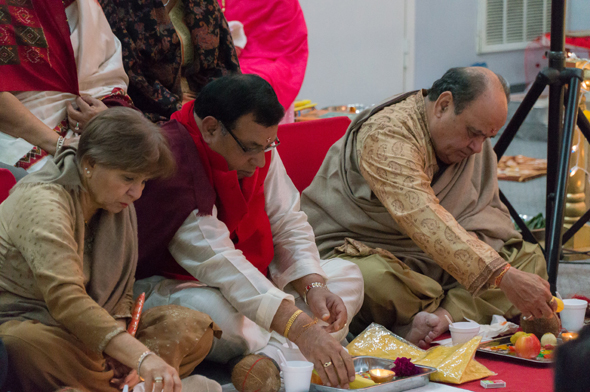 Patrons and sponsors at the Puja; Jaya Sharma, Rakesh Kapoor and Narin Sehgal