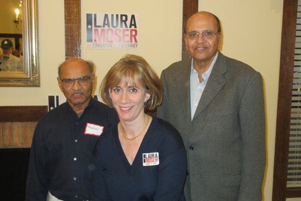 Contender for the Democratic Primary for District 7 Laura Moser with community activists Rashmi Desai (left) and Jagat Kamdar at the Meet and Greet they organized on Sunday, January 7.