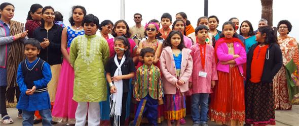DAV Montessori and Sanskriti School children singing Vande Mataram
