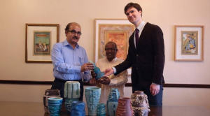The vases were designed digitally, 3D printed using customised technology, and were glazed by Padma Shri Brahmdeo Ram Pandit, a ceramic artist. (Source: IANS)