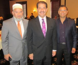 Former Harris County Sherriff and candidate for County Commissioner Adrian Garcia with IMAGH President Munir Ibrahim (right) and Advisory Board Chairman Abeezar Tyebji (left)
