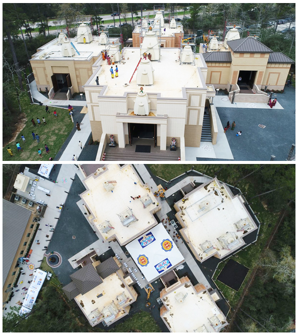 Bird's eye view of four temples (taken from a drone).