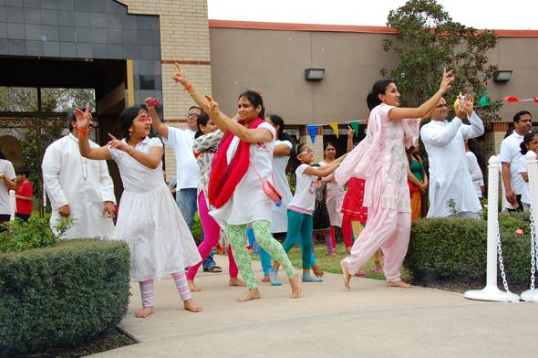 Members of the flash dance setting the celebratory mood