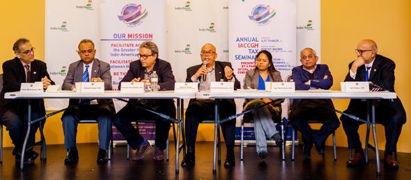 From left: IACCGH President Swapan Dhairyawan, CPAs Mahesh Desai, Kershaw Khumbatta, Robert Brown, Rimple Mashruwala, Tupil Narasimhan, Moderator Ajit Thakur. Photo: Bijay Dixit