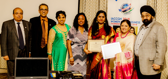 From left: Ashok Garg, President Swapan Dhairyawan, Event Chair Joya Shukla, Shell representative and Board Member Alyssa Holmes-Henderson, Sunanda Nair, Rathna Kumar, and Executive Director Jagdip Ahluwalia. Photos: Nandeep Mehta
