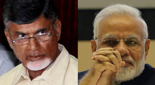 Chandrababu Naidu (left) and Narendra Modi (right)