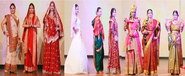Brides of India Fusion Show, from left: Gujarat, Bengal, Kashmir, Goa, Maharashtra, Punjab, Odhisa, Tamil Nadu, Telangana & Andhra Pradesh.