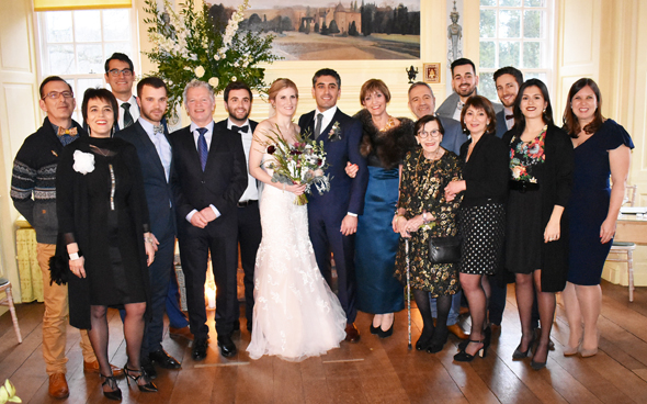 The newlyweds with the French side of Stefan's family with grandmother Edith Giacchetti and mother Dr. Claudine Giacchetti to his left.