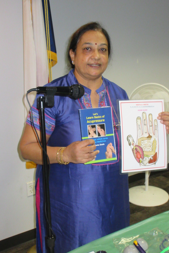 Acupressure specialist Neeta Shah gave a short talk and demonstration