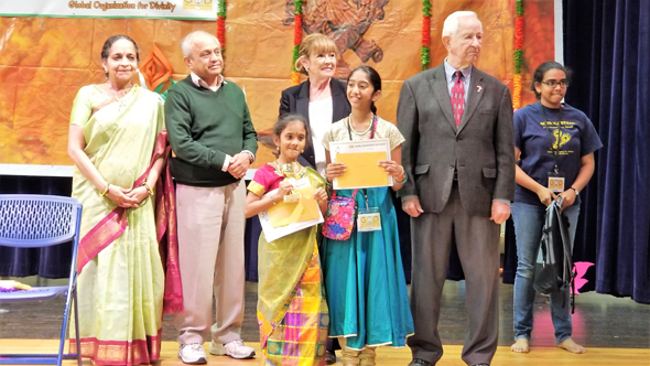 Chief guests with Storytelling competition winners.