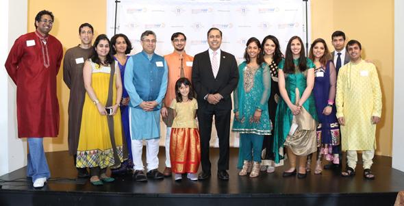 HAF team with Raja Krishnamoorthi (center), Arvind Chandrakantan (left), Dr. Rahul Pandit, Shradha Bhutada, Dr. Lavannya Pandit, Dr. Mihir Meghani, Rishi Bhutada, Congressman Raja Krishnamoorthi, Priya Prasad, Aesha Mehta, Kavita Pallod, Krishna Parmar, Bharat Pallod, and Vinay Sarda. Photos: Paresh Shah